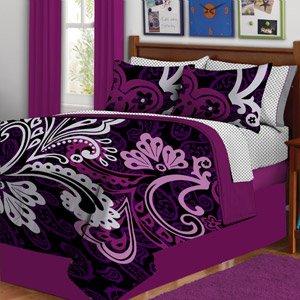 Amazon Com Girl Purple Swirl Twin Comforter Set Bed In A