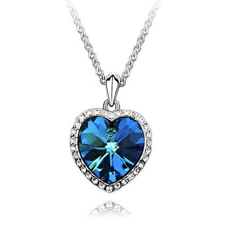 Valentine Gift by Crunchy Fashion Valentine Titanic Inspired Blue Sapphire Heart Pendant Necklace for Girls  available at amazon for Rs.399
