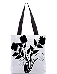 Snoogg Abstract Silhouette Of Decor Floral Elements Designer Poly Canvas Tote Bag