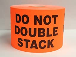 500 3x5 Red Flo Fragile Do Not Double Stack Shipping Labels Stickers