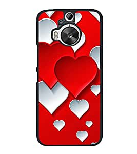 Red White Hearts 2D Hard Polycarbonate Designer Back Case Cover for HTC One M9 Plus :: HTC One M9+ :: HTC One M9+ Supreme Camera