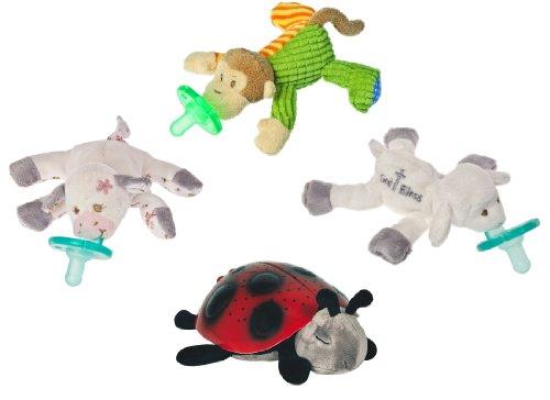 """Wubbanub Infant Plush Pacifier - Limited Edition Set (Mango Monkey, """"Moo Moo"""" Cow, """"God Bless"""" Lamb, Ladybug) front-251014"""