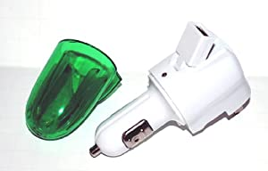 Green Portable 3 IN 1 Charger With USB Adapter, Folding Travel Blade, & Plug-in Car Charger For Lg Envy 2 3 9100 9200 Envy Touch 11000 Chocolate Touch Vx8575 Motorola Droid A855 Rival A455 Cliq Mb200 Palm Pixi Palm Pre Samsung Flight A797 Moment M900