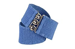 Malco Modes Women's Wide Elastic Cinch Stretch Belt - X-Large - Wedgewood Blue