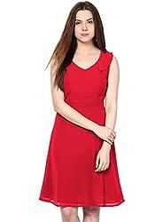 Besiva Women's Sleeveless Red Dress
