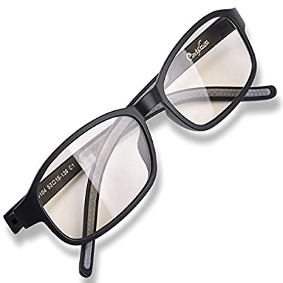 100%UV and Blue Light Glare Radiation Blocking Amber Computer Video Gaming Glasses US Optical Award and Patented Melanin Sleep Glasses Ultralight