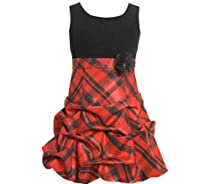 Girls Christmas Dress Sleeveless Red Plaid Dress 10