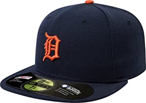 MLB Detroit Tigers Authentic On Field Road 59FIFTY Cap, Navy/Orange, 7 1/4