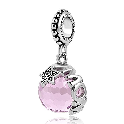 LovelyJewelry Mom Dangle Star Pink Crystal Charm Bead Pendant Fit Pandora Charms Bracelet (Pandora Amazon compare prices)