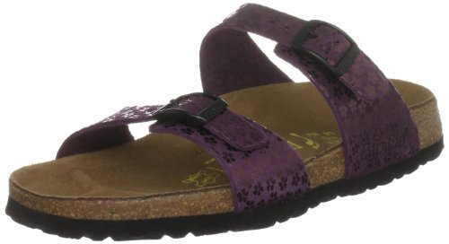 Papillio by Birkenstock Women's Sydney Leather Flower Glitter Bordeaux Slides Sandal 393313 2 UK, 35 EU