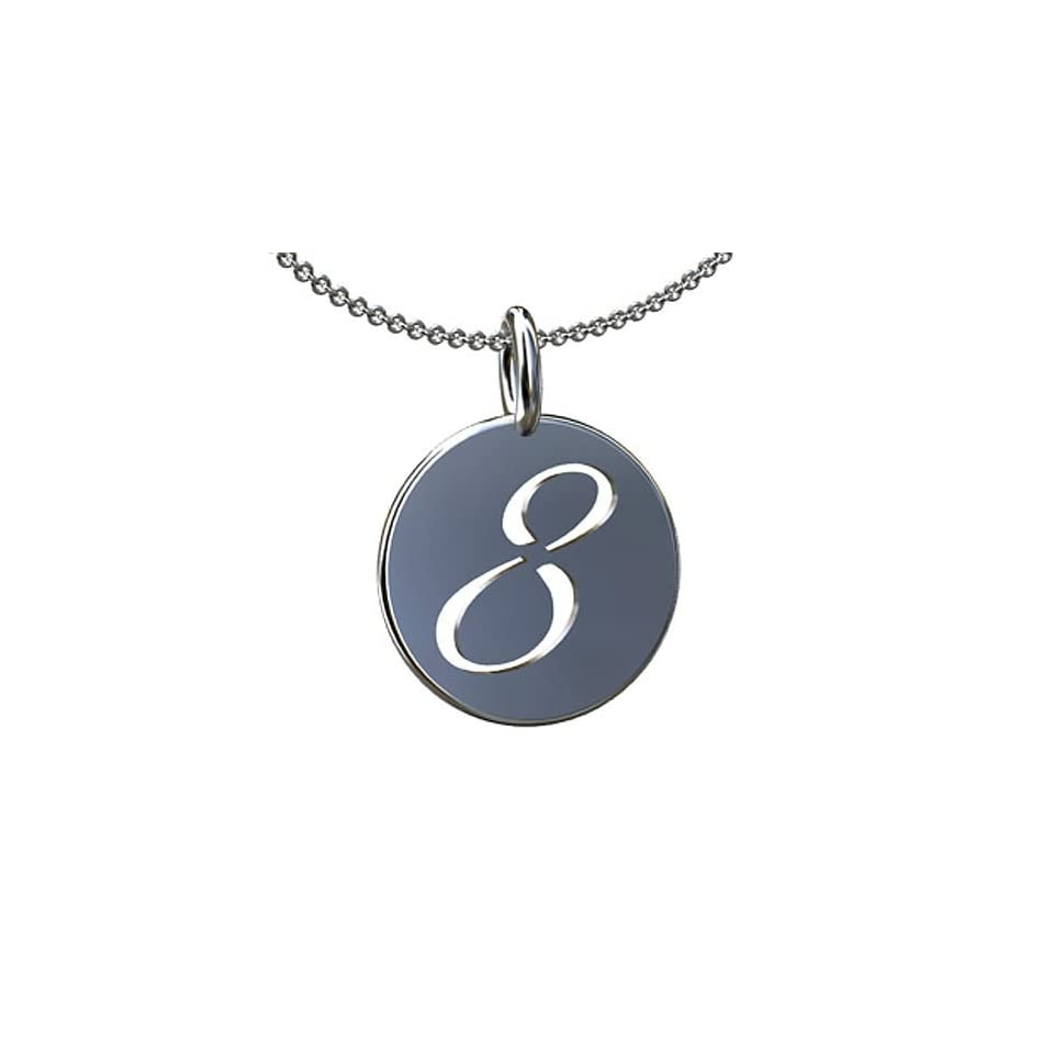 14K Yellow Gold Number Eight 8 Charm Pendant Necklace