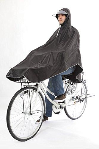 【krosta】グッジョブ!! 自転車用 ロングレインコート ポンチョタイプ 男女兼用 フリーサイズ (ピュアブラック)