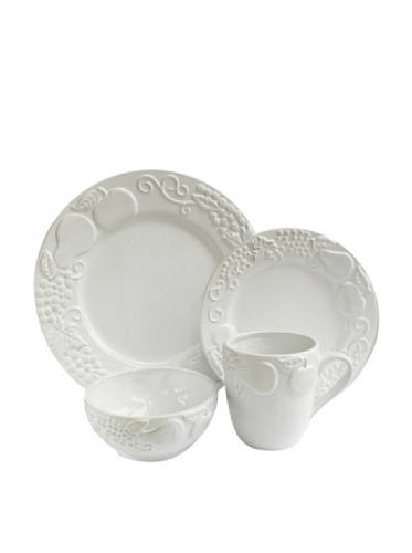 Jay Imports Frutta 16-Piece Dinnerware Set, White