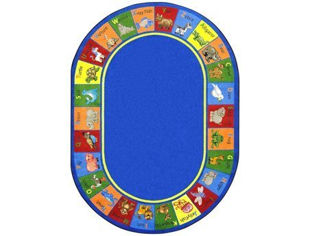 "Joy Carpets Kid Essentials Early Childhood Oval Animal Phonics Rug, Multicolored, 5'4"" x 7'8"""