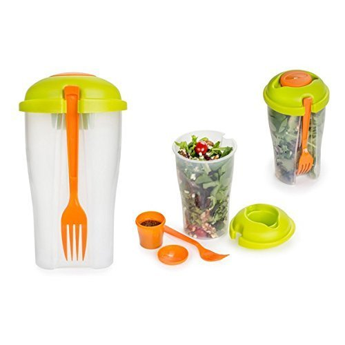 Salad On the Go - Travel size Portable salad Bowl With Built in Dressing Holder Includes Detachable Reusable Fork by Never get sogy salad