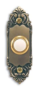 Heath Zenith 925 Wired Door Chime Push Button, Antique Brass with Lighted Center