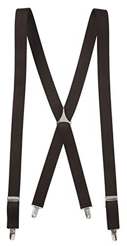 Albert's Mens Elastic X-back Adjustable Clip On Solid Wedding Suspenders - Brown (Regular - 46 Inch) (Mens Skiing Package compare prices)