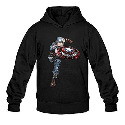 [BEVH Men's Captain America Typographic Hoodie Sweatshirt Black] (Sims 3 Seasons Costumes)
