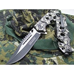 5 X New TAC-FORCE Assisted Opening Linerlock w/ Skull Design A/O Speed Rescue Glass Breaker Knife