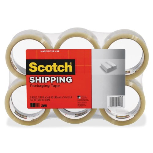 Scotch Lightweight Shipping Packaging Tape, 1.88 Inches x 54.6 Yards, 6 Rolls (3350-6)