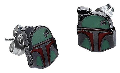 Star Wars Boba Fett Helmet Enamel Stud Earrings