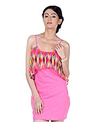 VeaKupia Women's Asymmetric Regular Fit Dress (Pink Printed, 38)