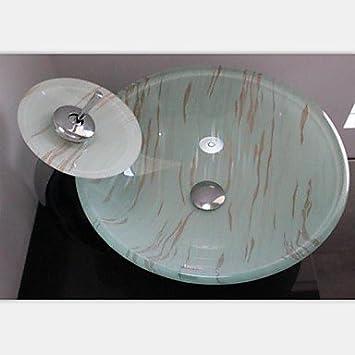 autique runde geh rtetes waschbecken aus glas mit waterfull wasserhahn einbauring und wasser. Black Bedroom Furniture Sets. Home Design Ideas
