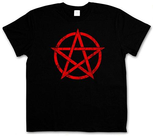 RED PENTAGRAM SIGN T-SHIRT - Satan Crowley Pentacle Pentagramm pentagramma Satanic Circle diavolo 666 Shirt Taglie S - 5XL