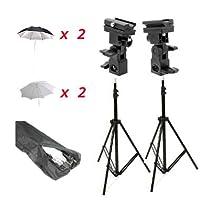 CowboyStudio Doulbe Off-Camera Flash Shoe Mount Swivel Umbrella Kit for Nikon Canon with 2 Silver Umbrellas, 2 Shoot Through Umbrllas, 2 Shoemount Brackets and Carrying Case
