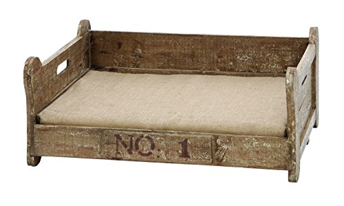 Benzara Vintage Pet Bed With Bone Shaped Wood front-919089