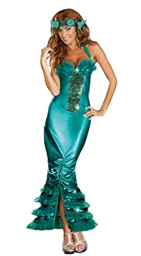 Halloween Women's Halter Mermaid Dress Green Forest Goddess Cosplay Costume
