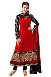 Bipson Womens Georgette Anarkali Dress Material (Amisha -1003-1113 _Red _17-18 Years)