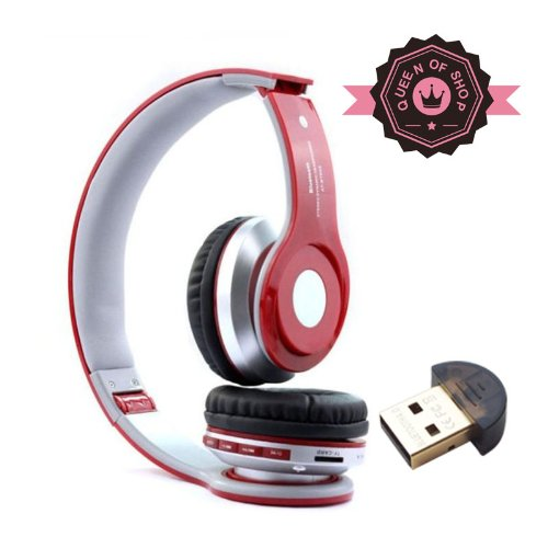 B2 Red High Quality Foldable Wireless Bluetooth Stereo Headset Headphones Mic For Iphone Samsung Htc ( Red )