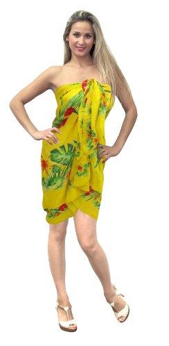 La Leela Floral Print Beach Sarong Yellow