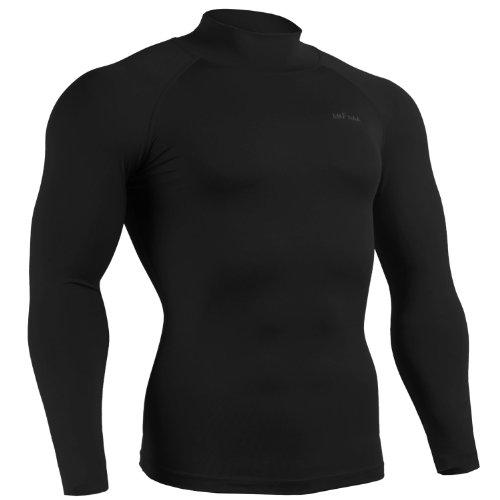 emFraa Mens Womens Skin Tight Spandex Mock Neck Shirt Running Black Top Long sleeve S ~ 2XL