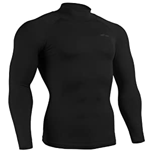 emFraa Mens Womens Skin Tight Spandex Mock Neck Shirt Running Black Top Long sleeve S