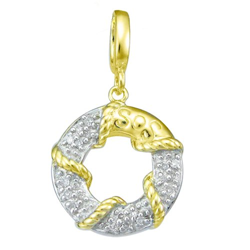 18k Gold Over Sterling Silver Diamond Lifesaver Charm