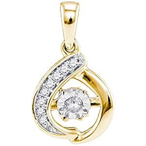 Twinkle Diamond Necklace 10k Yellow Gold 1/10 CTW with 9 Diamonds, Pendant Only