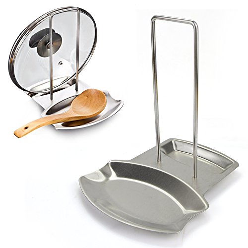 Progressive Lid and Spoon Rest, Yummy Sam® Stainless Steel Kitchen Utensils Lid Holder Spoon Holder Lid Rest Lid Shelf in Silver