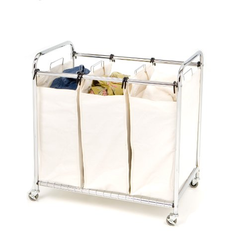 3 sorter bag laundry cart large storage canvas wheels heavy duty household dry ebay - High end laundry hamper ...