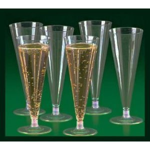 25 - Clear Plastic Champagne Wedding Toasting Flutes Glasses by Wedding Planner