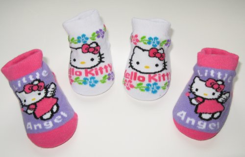 Hello Kitty Newborn Infants Baby Purple White Pink Angel Design Booties 0-12months Two Pairs