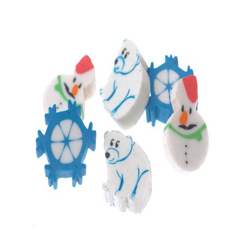 Lot Of 144 Assorted Mini Snowman Christmas Theme Erasers - 1