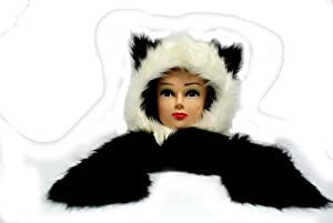 Panda Hood Hoodie Hat w/ Scarf & Mittens 3 in 1 Animal Thermo Wear Black & White