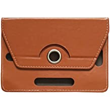 KANICT 360 Rotating 7 Inch Tablet Leather Flip Case Cover Compatible For HCL ME Connect 2G V1 Front Back Book Stand -Brown