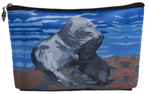 Sea Lions Cosmetic Bag, Zip-top Closer - Taken From My Original Paintings (Sea Lions - Treaure)