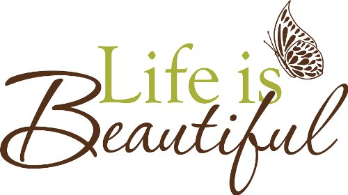 Wall Pops WPQ96853 Peel & Stick Life is Beautiful Quotes Wall Decals 24.5 in x 13.5 in - 1