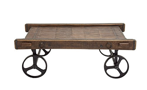 Vintage Rustic Wood Cart Coffee Table by Woodland Imports