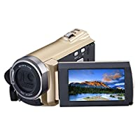 Hausbell 5052 HDMI 1080p Full HD Wifi Digital Video Camera Infrared Night Vision 30FTPS Camcorder with 32G SD Card and Touchscreen (Golden)