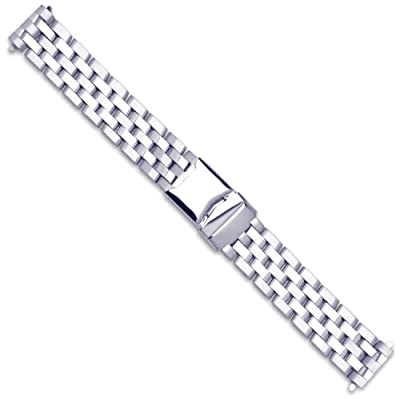 Breitling Pilot Style Solid Link Metal Watch Band - Silver - 22mm